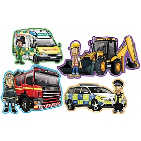 Vehicles And Workers Set Of 4 Signs £0 - Education Furniture