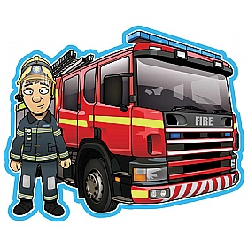 Fire Engine And Fireman Sign Combo £36 - Education Furniture
