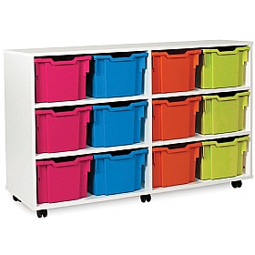 12 Extra Deep Tray White Range Storage Unit £310 - Education Furniture