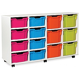 8 Deep and 6 Extra Deep Tray White Range Storage Unit £316 - Education Furniture