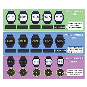 Tell The Time Digital Clock Chalkboard £0 - Education Furniture