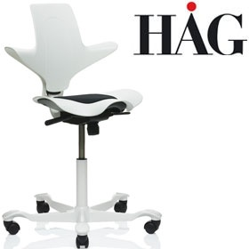 HAG Capisco Puls 8010 Chair White £234 - Office Chairs