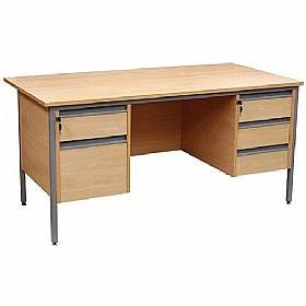 NEXT DAY Nova Contract H-Leg Rectangular Desk With Double Fixed Pedestals £185 - Next Day Office Furniture