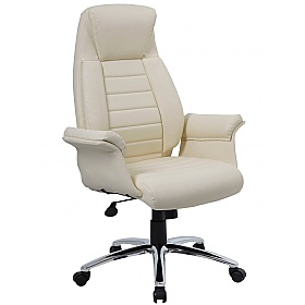 Ordinaire Jersey Cream Leather Faced Office Chairs ...
