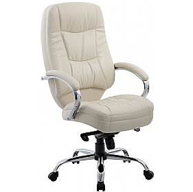 Rimini Cream Leather Manager Chair £106 - Office Chairs