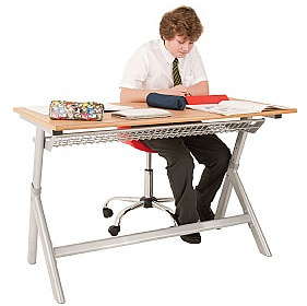Titan Height Adjustable Classroom Table Double £155 - Education Furniture