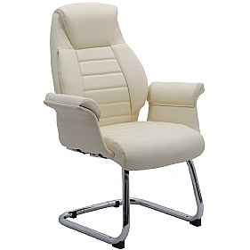 Jersey Executive Cream Leather Faced Office Visitor Armchairs £112   Office  Chairs