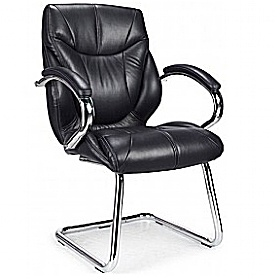 Geneva Black Leather Faced Visitor Chair £201 - Office Chairs