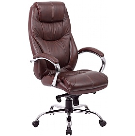Genoa Leather Executive Office Chair Brown £138 - Office Chairs