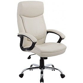 Modena Cream High Back Leather Manager Chairs £85 - Office Chairs