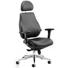 Vital 24Hr Ergonomic Plus Enviro Leather Chair With Headrest £474 - Office Chairs