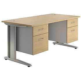 NEXT DAY Aura Double Fixed Pedestal Desks £349 - Next Day Office Furniture