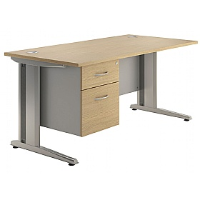 NEXT DAY Aura Rectangular Single Fixed Pedestal Desks £243 - Next Day Office Furniture