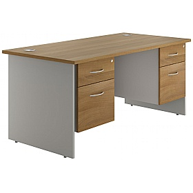 NEXT DAY Flare Panel End Double Fixed Pedestal Desks £394 - Next Day Office Furniture