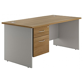 NEXT DAY Flare Panel End Single Fixed Pedestal Desks £224 - Next Day Office Furniture