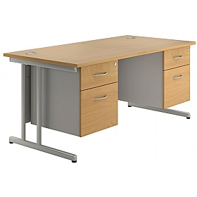 NEXT DAY Merge Cantilever Double Fixed Pedestal Desks £369 - Next Day Office Furniture