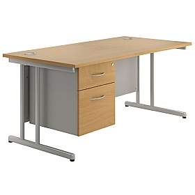 NEXT DAY Merge Cantilever Single Fixed Pedestal Desks £255 - Next Day Office Furniture