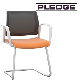 Pledge Kind Mesh Back White Cantilever Conference Chair £173 -