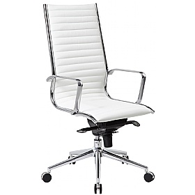 Abbey High Back White Leather Office Chair £145 - Office Chairs