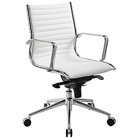 Abbey Medium Back White Leather Office Chairs £127 - Office Chairs