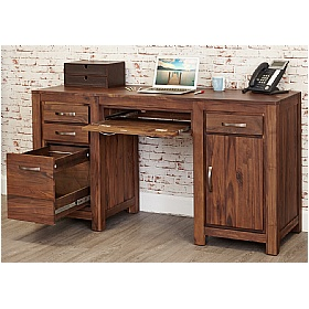 Fernhurst Solid Walnut Twin Pedestal Computer Desk