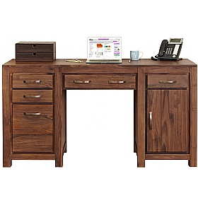twin pedestal computer desk fernhurst solid walnut home office