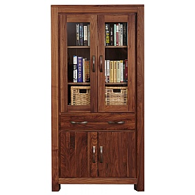 Fernhurst Solid Walnut Large Glazed Bookcase £594 -