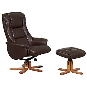 Illinois Leather Faced Recliner Brown £292 - Office Chairs
