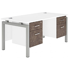 NEXT DAY Concept Bench Rectangular Office Desks With Double Fixed Pedestals £482 -