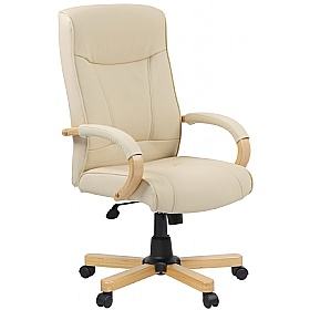 Farnham Executive Cream Leather Manager Chair £113 - Office Chairs