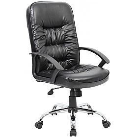 Cadiz Chrome Leather Faced Manager Chair £94 -