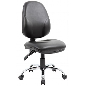 Comfort Ergo 2-Lever Leather Chrome Operator Chairs £72 -