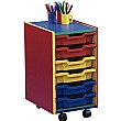 Multi Coloured 6 Tray Shallow Mobile Storage Unit