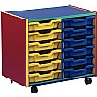 Multi Coloured 12 Tray Shallow Mobile Storage Unit