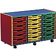 Multi Coloured 18 Tray Shallow Mobile Storage Unit