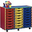 Multi Coloured 24 Tray Shallow Mobile Storage Unit