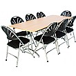 Rectangular Folding Table with 8x Fan Back Upholstered Folding Chairs