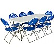 6ft Folding Rectangular Table with 8x Fan Back Fol