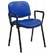 Swift Vinyl Conference Chair Black Frame with Arms (Pack of 4 Chairs)