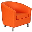 Collage Vinyl Tub Chairs With Metal Legs - Orange